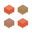 isometric wooden pallet with bricks vector image