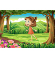 A playful young girl at the woods vector image