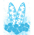 surfboards and hibiscus flowers vector image
