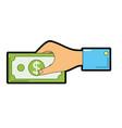 businessman hand with bill cash money vector image