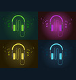 flat design colorful headphones in four style vector image