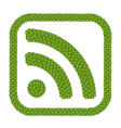Four Leaf Clove of RSS Feed Sign in Square Frame vector image