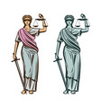 judiciary symbol lady justice with blindfold vector image