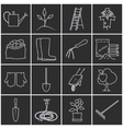 Line Grey Icons Gardening Equipment vector image