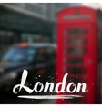 London calligraphy sign on blurred photo vector image