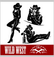 silhouettes of western cowgirls vector image
