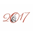 Happy new year 2017 creative greeting card design vector image