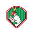 American Baseball Player Bat Diamond Cartoon vector image