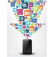 Smartphone with arrow social media icons vector image vector image