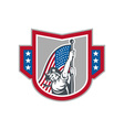 American Patriot Holding Up Stars Stripes Flag vector image