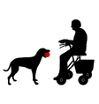 Old woman with dog vector image