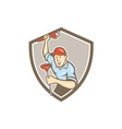 Plumber Wrench Plunger Front Shield Cartoon vector image vector image