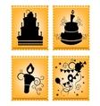 Icons of cakes on orange background vector image