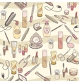 Hand drawn make up and cosmetics seamless vector image vector image