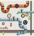 pipeline flat design plumbing pipes on brick wall vector image
