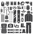 Snowboard and Ski Outline Icons Set vector image