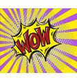 wow comic text art cartoon design style retro vector image