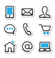 Contact web stroke icons set vector image