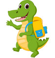 happy crocodile cartoon going to school vector image