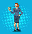 pop art happy business woman with stack of money vector image vector image