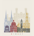 Sydney v3 skyline poster vector image