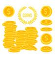 coins stacks money gold cash pile vector image