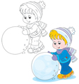 Child with a snowball vector image vector image