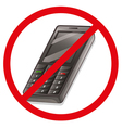 A cellphone with a red sign vector image vector image