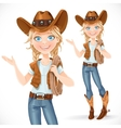 Beautiful girl in a cowboy hat and with lasso says vector image