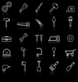 Tool line icons with reflect on black vector image