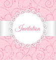 Lace frame with silver ribbon on swirl background vector image