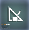 Pencil and ruler icon On the blue-green abstract vector image