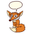 red smiling fox with text baloon vector image