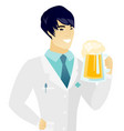 young asian doctor drinking beer vector image