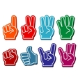 Foam fingers set vector image