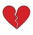 cartoon red heart broken sad separation vector image