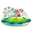 A clown with a flower in an island with a carnival vector image vector image