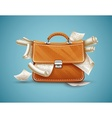 Leather briefcase full of vector image vector image