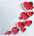 Trendy abstract background with 3d hearts vector image