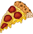 Cartoon piece of tasty pizza isolated on whit vector image