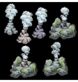 Stone geysers with steam and bubbles six image vector image