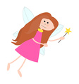 Little Cute Fairy Girl with Long Hair vector image