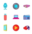 Electronic equipment icons set cartoon style vector image