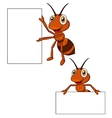 Cute ant cartoon with blank sign vector image