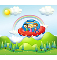 Kids in UFO vector image vector image