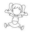 happy girl cartoon character fun vector image
