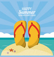 happy summer holidays poster flip flops beach vector image