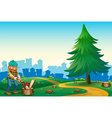 A lumberjack chopping the woods at the hilltop vector image