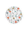 alcoholic circle concept - bottles icons on white vector image