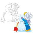 Child makes a snowman vector image vector image